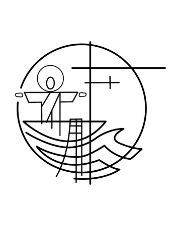 Vector illustration or drawing of Jesus Christ on a fishing boat and nets symbol Illustration