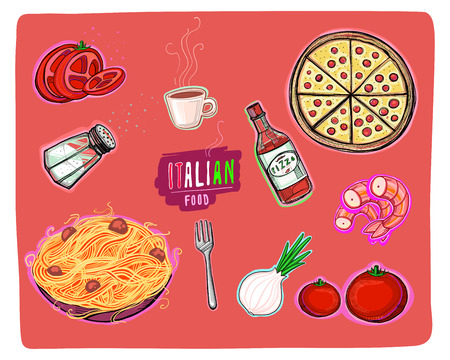 Hand drawn vector illustration or drawing of some elements of the Italian food