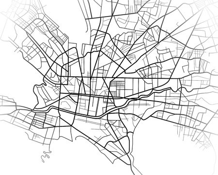 Digital illustration or drawing of the Monterrey Mexico city map