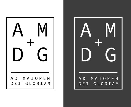 Vector illustration or drawing of the latin Jesuit motto phrase: Ad Maiorem Dei Gloriam, which means: For the Greater Glory of God