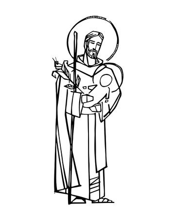 Hand drawn vector illustration or drawing of Saint Joseph and baby Jesus 免版税图像 - 120365371