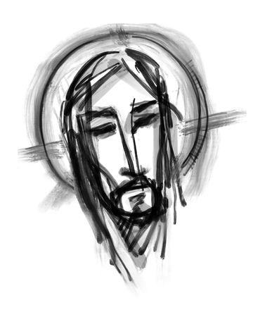Hand drawn illustration or drawing of Jesus Christ Face Stock Photo