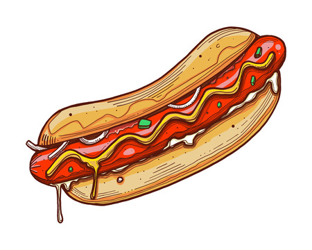 Hand drawn vector ink illustration or drawing of a hot dog Stock Photo