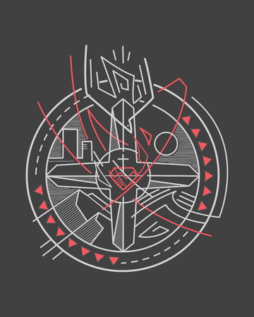 Hand drawn vector illustration or drawing of a Cross and other religious Christian symbols badge