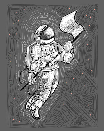 Hand drawn vector ink illustration or drawing of an astronaut 写真素材