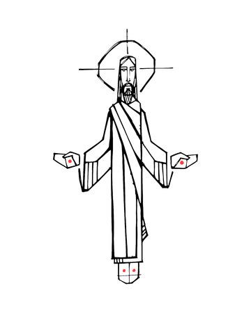 Ilustración vectorial dibujada a mano o un dibujo de Jesucristo con los brazos abiertos y las manos
