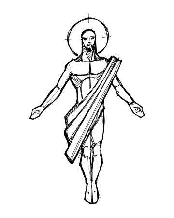 Hand drawn vector illustration or drawing of Jesus Christ Resurrection