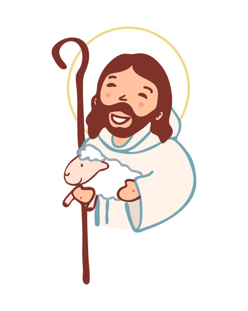 Hand drawn vector illustration or drawing of Jesus Christ Good Shepherd in a cartoon style Illustration
