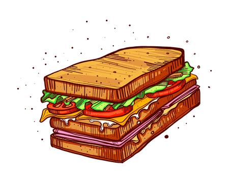 Hand drawn vector illustration or drawing of a sandwich 版權商用圖片