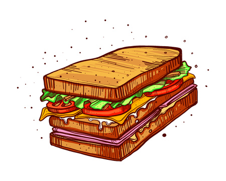 Hand drawn vector illustration or drawing of a sandwich Stock Photo