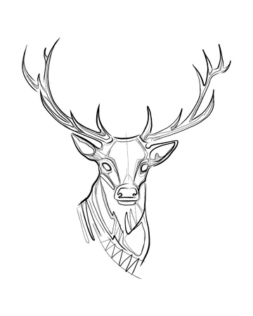 Hand drawn vector ink illustration or drawing of a deer head