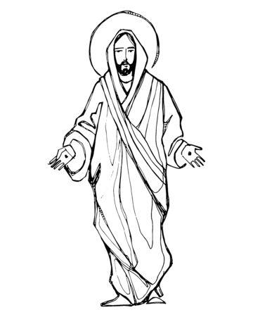 Ilustración vectorial dibujada a mano o un dibujo de Jesucristo con las manos abiertas