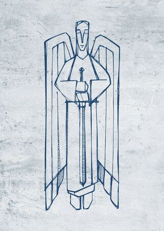Hand drawn illustration or drawing of a religious Angel with a sword 版權商用圖片