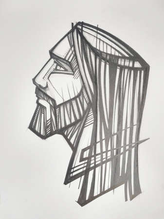 Hand drawn pencil and charcoal illustration or drawing of Jesus Christ Face