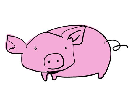 Hand drawn vector illustration or drawing of a cartoon pig 向量圖像