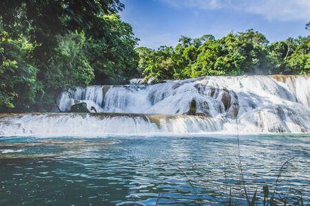 Detail of the waterfalls of Cascadas de Agua Azul in Chiapas Mexico