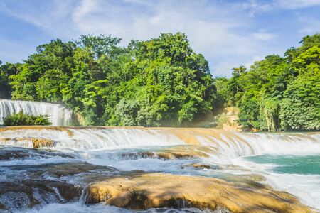 Detail of the waterfalls of Cascadas de Agua Azul in Chiapas Mexico