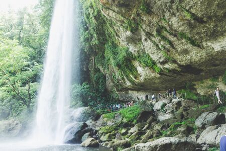 Comitan, Chiapas  Mexico - 21072019: Chifon waterfall and some tourists in Chiapas Mexico