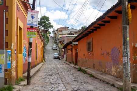 San Cristobal de las Casas, Chiapas  Mexico - 21072019: Streets of San Cristobal de las Casas Chiapas Mexico