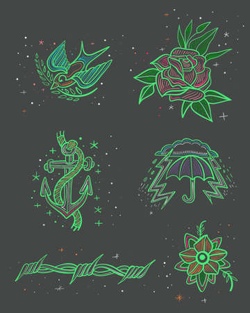 Hand drawn vector illustration or drawing of some old school style tattoo designs