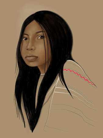 Hand drawn illustration or drawing of an indigenous girl portrait Stok Fotoğraf