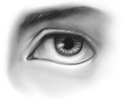 Hand drawn pencil illustration or drawing of a human eye Stok Fotoğraf