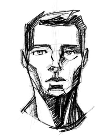 Hand drawn pencil illustration or drawing of a man´s face Stok Fotoğraf