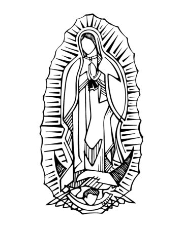 Hand drawn vector illustration or drawing of the Virgin of Guadalupe