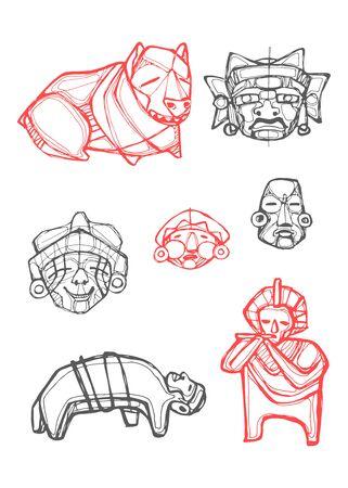 Digital vector illustration or drawing of some prehispanic indigenous symbols