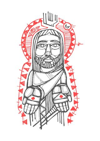 Digital vector illustration or drawing of Jesus Christ with open hands