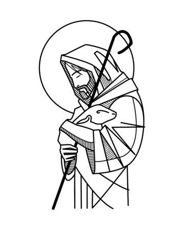 Hand drawn vector illustration or drawing of Jesus Good Shepherd Ilustración de vector