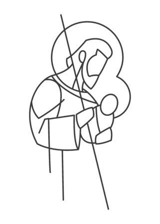 Digital vector illustration or drawing of Saint Joseph in a minimalistic style