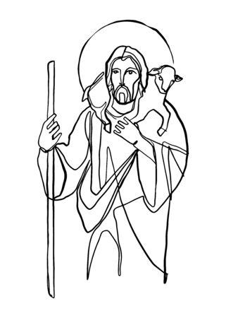 Digital illustration or drawing of Jesus Christ Good Shepherd