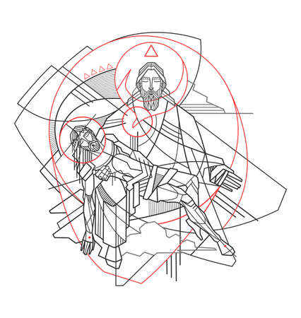 Hand drawn digital vector illustration or drawing of the Holy Trinity in a minimal and contemporary style