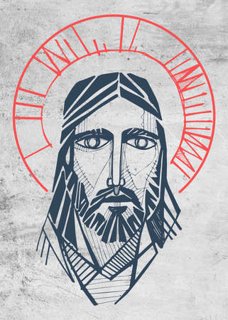 Hand drawn illustration or artistic drawing of Jesus Christ Face