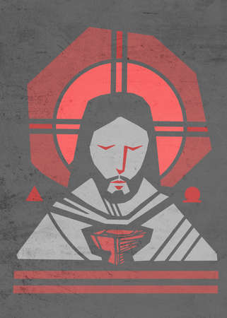 Hand drawn illustration or artistic drawing of Jesus Christ  Face and Eucharist symbol Stok Fotoğraf