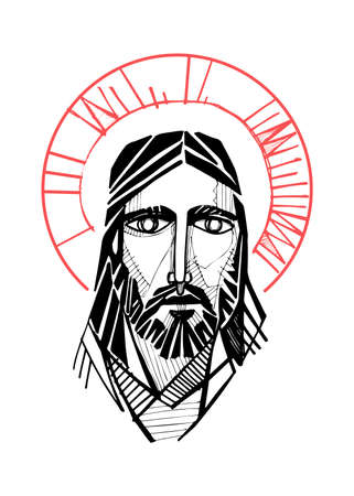 Hand drawn vector illustration or artistic drawing of Jesus Christ Face Stok Fotoğraf