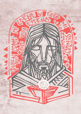 Hand drawn illustration or artistic drawing of Jesus Christ  Face and Eucharist symbol with phrase in spanish that means: Who eaats my Flesh and drinks my blood has Eternal Life and I will resurrect him Stok Fotoğraf