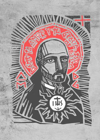 Hand drawn illustration or artistic drawing of the Jesuit Saint Ignatius of Loyola with phrase in spanish that means: Give me your love and grace, that is enough Stok Fotoğraf