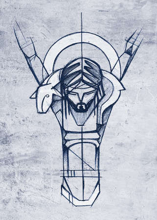 Hand drawn illustration or artistic drawing of Jesus Christ Good Shepherd at the Crucifixion