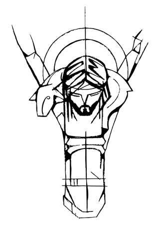 Hand drawn vector illustration or artistic drawing of Jesus Christ Good Shepherd at the Crucifixion Stok Fotoğraf