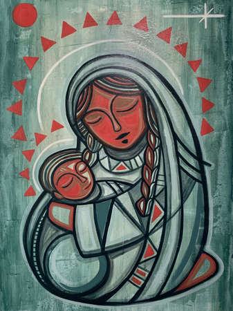 Hand drawn painting or illustration of Virgin Mary and baby Jesus in an indigenous contemporary style Stok Fotoğraf