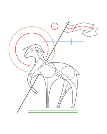 Hand drawn vector illustration or drawing of the symbol of Jesus Christ as the Lamb of God