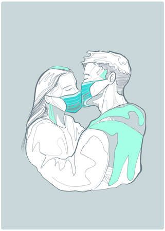 Hand drawn vector illustration or drawing of a couple kissing wearing masks