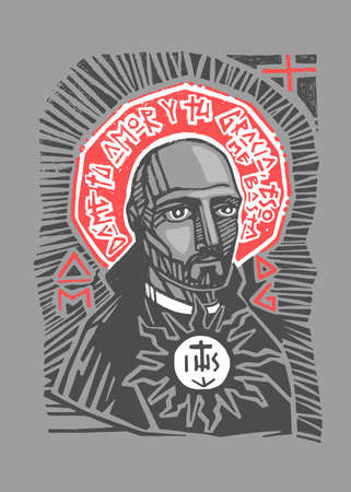 Hand drawn vector illustration or artistic drawing of the Jesuit Saint Ignatius of Loyola with phrase in spanish that means: Give me your love and grace, that is enough Stok Fotoğraf