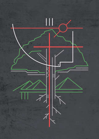 Hand drawn illustration or drawing of some Christian symbols of a tree, mountains and the Holy Spirit