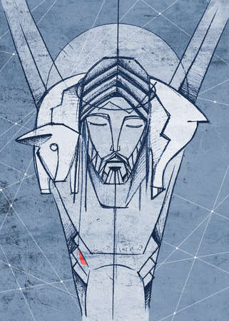 Hand drawn illustration or drawing of Jesus Christ Shepherd at the Cross