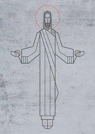 Hand drawn illustration or drawing of Jesus Christ
