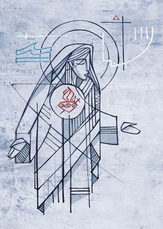 Hand drawn illustration or drawing of Virgin Mary and her Immaculate Heart Stok Fotoğraf