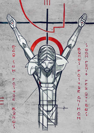 Hand drawn illustration or drawing of Jesus Christ Good Shepherd at the Cross and a phrase in Latin that means: I am the Good Shepherd, the Good Shepherd gives his life for his sheep